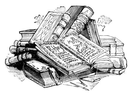 Pile of Books, collection, heap, mass, mound, Novel, stack, volume, vintage line drawing or engraving illustration.