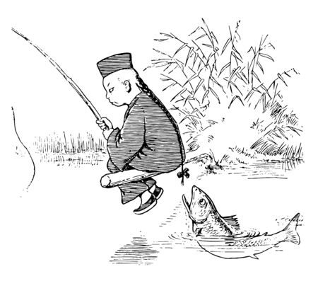 A Lun Chun Foo man sitting on wooden pole, trying to catch fish & a fish is trying to grab Lun Chun Foo hair, vintage line drawing or engraving illustration.