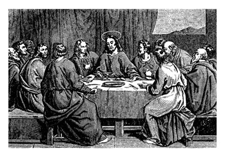 Jesus communicating with His disciples at the last Supper, vintage line drawing or engraving illustration.