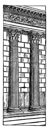 Semi-Columns, Engaged columns of the Maison Carrée,  a punctuation mark that separates major sentence elements, used between two closely related independent clauses, vintage line drawing or engraving illustration.