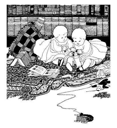 Twins baby sitting between books on a blanket and playing with a doll, vintage line drawing or engraving illustration.