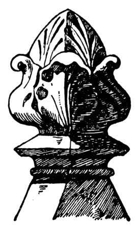 Stone Knob Finial is an Italian Gothic design, drapery, metal hardware, sold exclusively, interior designers, vintage line drawing or engraving illustration.