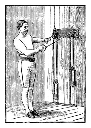A man working out by pulling weights tied on machine from both arms. In this exercise, he is standing straight but is not facing machine. He is pulling down weights from one arm, vintage line drawing or engraving illustration. Illustration