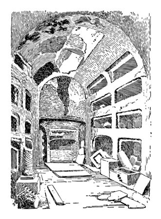 An inside view of Catacombs shown in this picture. Catacombs is the underground cemetery tomb, which is built by the romans in ancient times, vintage line drawing or engraving illustration. Ilustração