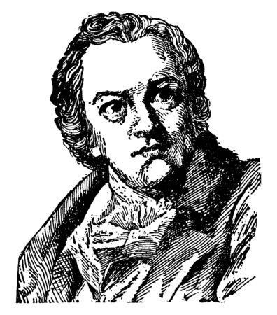 William Blake, 1757-1827, he was an painter, English poet, and printmaker, vintage line drawing or engraving illustration Foto de archivo - 133024145