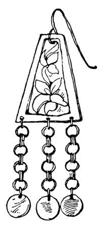 Modern Earring have a wire loop, vintage line drawing or engraving illustration.