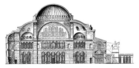 Section of Hagia Sophia, dome, covered, square, semicircle, vintage line drawing or engraving illustration.
