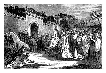 Jesus came on donkey in front of gate of palace.People gathered around  and welcoming him by raising hands and feathers, vintage line drawing or engraving illustration.