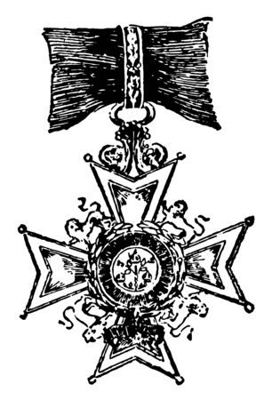 The Bath is a military decoration of Europe, this medal has shape like a star, and one lion in each gap, vintage line drawing or engraving illustration