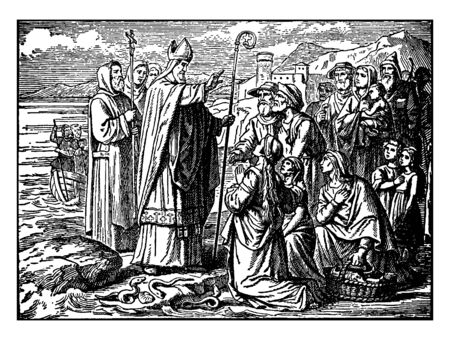 In this picture shown Peter and John Lay their Hands on peoples, who Convert his religion Christianize Converts, vintage line drawing or engraving illustration.