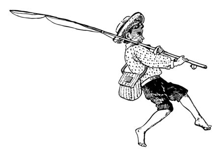 In this image there is boy with fishing pole, & a tackle bag. His has wearing a cap, vintage line drawing or engraving illustration.
