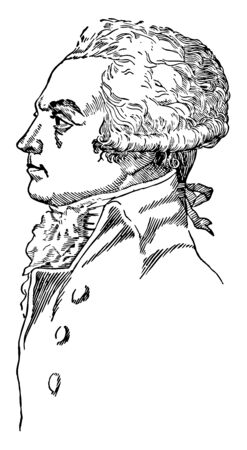 Robespierre, 1758-1794, he was a French lawyer, politician, and one of the most influential figures associated with the French Revolution, vintage line drawing or engraving illustration Ilustração