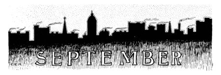 September in front of a city skyline in this border, vintage line drawing or engraving illustration.