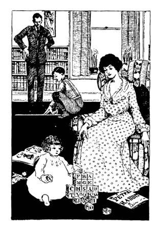 Homework and a meter stick boy or learning, girl, letter blocks, students, yardstick, vintage line drawing or engraving illustration.
