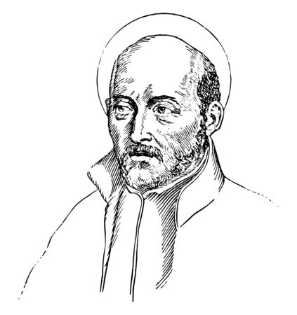 Ignatius of Loyola, 1491-1556, he was a Spanish Basque priest and theologian who founded the Society of Jesus, vintage line drawing or engraving illustration