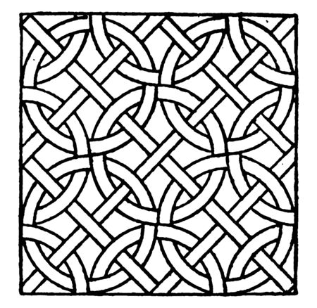 Roman Mosaic Circle Pattern is a mosaic made during the Roman period, it is used in a variety of private and public buildings, vintage line drawing or engraving illustration.