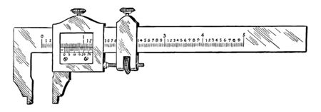 This illustration represents Vernier Caliper which is used for accurate measurements, vintage line drawing or engraving illustration.