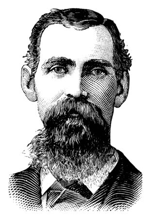 Captain W. L. Couch, 1850-1890, he was famous as a leader of the Boomer Movement and as the first provisional mayor of Oklahoma City, Oklahoma, vintage line drawing or engraving illustration