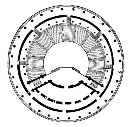 Ground Plan of the Theatre of Herodes Atticus is a stone theatre structure located on the south slope of the Acropolis of Athens, vintage line drawing or engraving illustration. Çizim