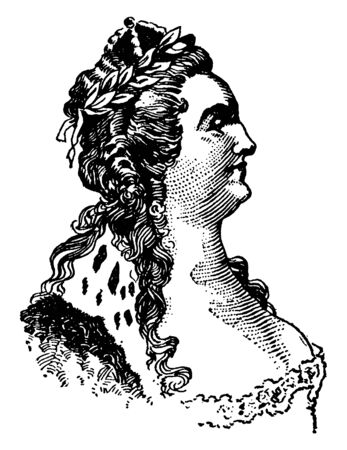 Catherine II, 1729-1796, she was empress of Russia from 1762 to 1796 and the country's longest-ruling female leader, vintage line drawing or engraving illustration