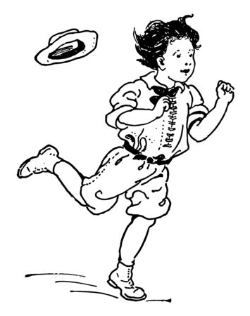 A boy is moving very quickly and his hat is about to fall from his head, vintage line drawing or engraving illustration.