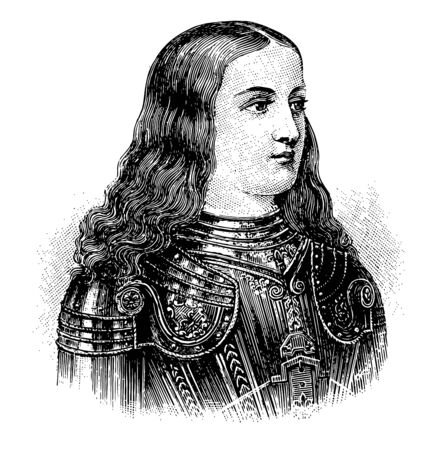 Joan of Arc, 1412-1431, she was a peasant girl living in medieval France, famous for leading France to victory in its long-running war with England, vintage line drawing or engraving illustration Vettoriali
