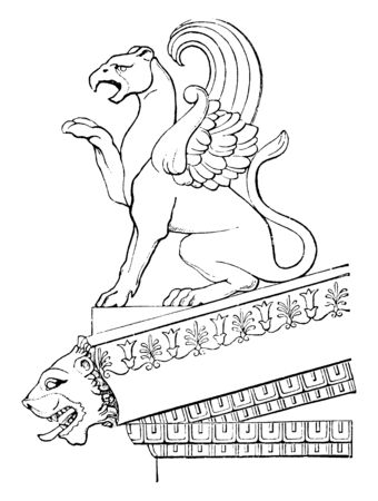 Acroteria from the Temple of Minerva at aegina, the apex and two lower angles, ornaments of flowers and tendrils,  statues of gods or animals,  placed on small pedestals,  vintage line drawing or engraving illustration.