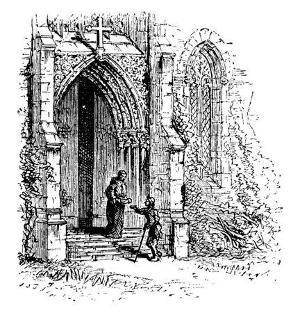 Monastery Gate, poor beggar, bowl, food, monastery, vintage line drawing or engraving illustration