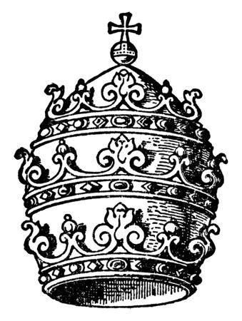 Le diadème papal est un symbole important de la papauté, du dessin au trait vintage ou de l'illustration de gravure.