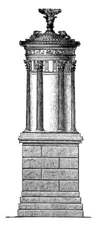 Choragic Monument of Lysicrates, a less ambitious class,  monuments erected in honor, the victorious choragus, in musical competitions, vintage line drawing or engraving illustration.