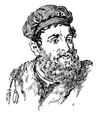 Marco Polo, 1254-1324, era un viaggiatore mercante veneziano, disegno di linee vintage o illustrazione di incisione