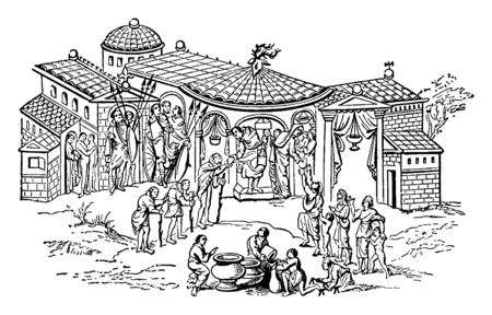 Image shows the nobles house, where lord and lady use to do charity, which helps people in poverty. Here in this image people are standing in a queue to receive money or food, vintage line drawing or engraving illustration.