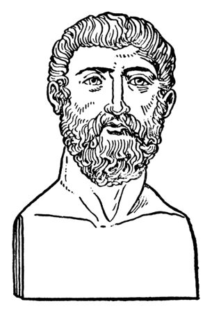 Alcibiades,  c. 450404 BC , he was a general and prominent Athenian statesman, one of the political leaders in Athens during the Peloponnesian war, vintage line drawing or engraving illustration Çizim