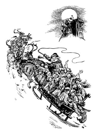 In this picture, Santa Claus is seen with many children in his sleigh flying to the North Pole. Santa Clause has holding on a Whip in his hand, vintage line drawing or engraving illustration. Stock fotó - 133024087