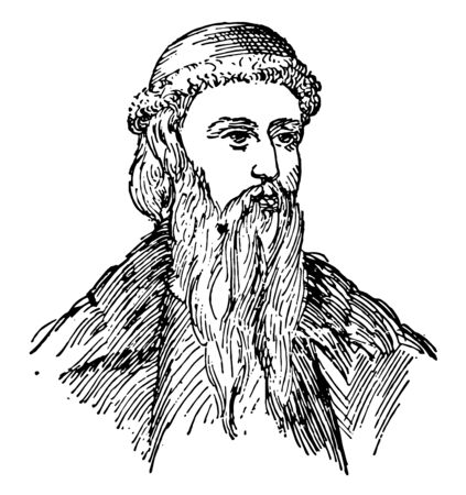 Johannes Gutenberg, c. 1400-1468, he was a German blacksmith, goldsmith, printer, and publisher who introduced printing to Europe, vintage line drawing or engraving illustration Stock Illustratie