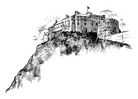 This image shows the castle. This fort is built on the mountain. There is Flag on the pinnacle of the Fort, vintage line drawing or engraving illustration.