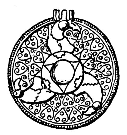 Anglo-Saxon Brooch decorated with cloisonné, vintage line drawing or engraving illustration.