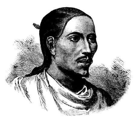 Abyssinian King, 1837-1889, he was emperor of Ethiopia from 1871 to 1889, vintage line drawing or engraving illustration Illustration