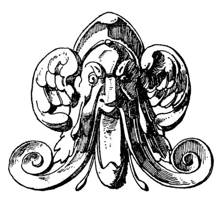 Winged Grotesque Mask design comes from the spout of a can during the German Renaissance, vintage line drawing or engraving illustration.
