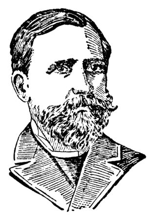 Martin Delbruck, 1817-1903, he was a statesman and director of commerce in 1859, vintage line drawing or engraving illustration