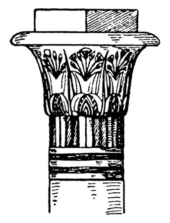 Egyptian Capital, flowers, kom-ombo, Papyrus, supports, termination, vintage line drawing or engraving illustration. Illustration