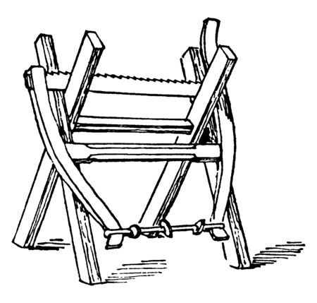 This illustration represents Sawhorse which is a legged beam to support a piece of wood, vintage line drawing or engraving illustration.
