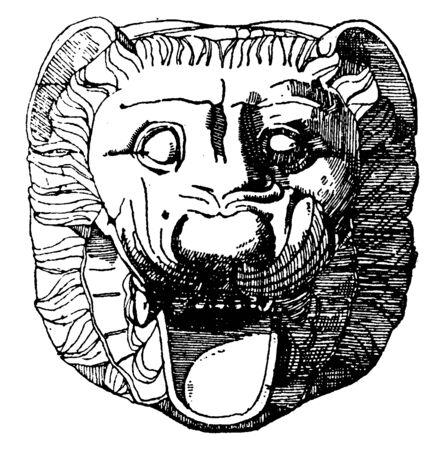 Tête de lion gargouille trouvée à Metapontum, grotesque sculpté ou formé, peu de variation, dessin de ligne vintage ou illustration de gravure.