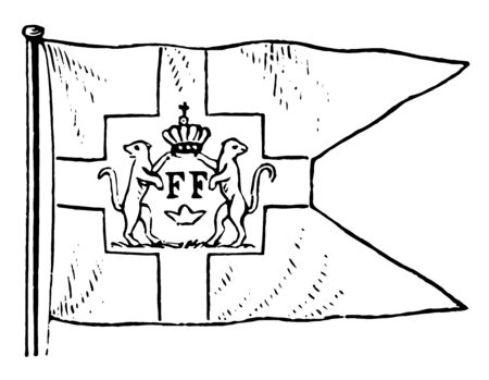 Danish West Indian Flag, this swallow-tail flag has corss connected with square in middle, in that two animals supporting to crown, and looking in opposite direction, below crown FF words mentioned, vintage line drawing or engraving illustration Illustration