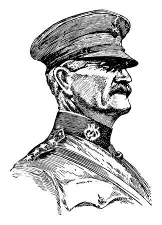 John J. Pershing, 1860-1948, he was a senior United States army officer, vintage line drawing or engraving illustration Vettoriali