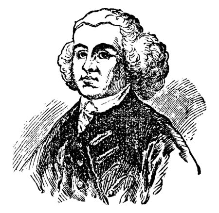 John Adams, 1735-1826, he was the first Vice President of United States from 1789 to 1797 and the second president of the United States from 1797 to 1801, vintage line drawing or engraving illustration