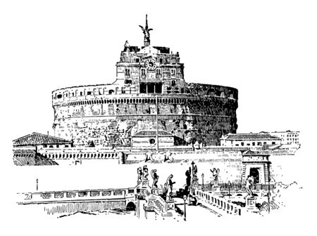Hadrians Tomb,  the Roman Emperor Hadrian, in Rome,  Roman Catholic architecture, vintage line drawing or engraving illustration.