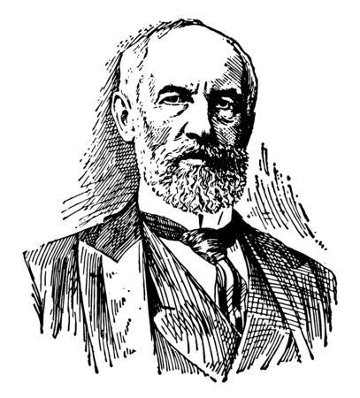 G. Stanley Hall, 1846-1924, he was an American psychologist and educator, vintage line drawing or engraving illustration Ilustração