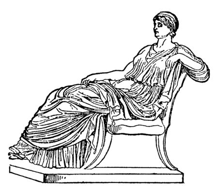 Agrippina, she was a roman empress and one of the more prominent women in the julio-claudian dynasty, vintage line drawing or engraving illustration Illusztráció