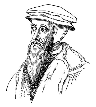 John Calvin, 1509-1564, he was an influential French theologian, pastor and reformer, and principal figure in the development of the system of Christian theology, vintage line drawing or engraving illustration Иллюстрация